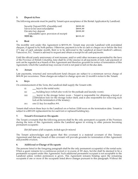 templates for business vancouver british columbia strata unit tenancy agreement vancouver
