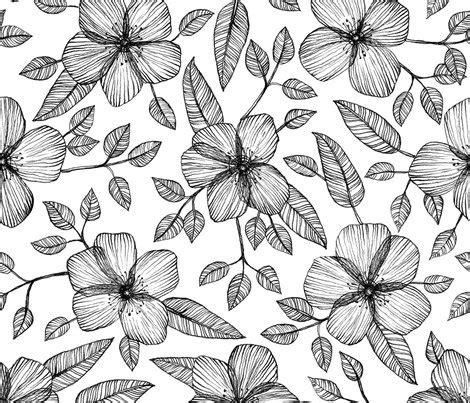 Dress Vintage Motif Print Burung black white floral line drawing pattern wallpaper