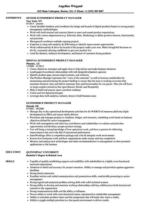 Ecommerce Resume by Ecommerce Product Manager Resume Sles Velvet