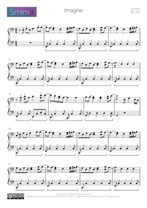 imagine lennon testo imagine di lennon spartito per pianoforte smim it