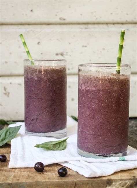 Detox Smoothie Almond Butter by Blueberry Basil Power Smoothie Dishing Up The Dirt Nut