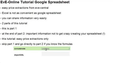 online tutorial in c eve online tutorial google spreadsheet part 1 youtube
