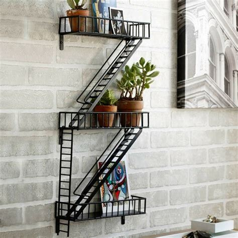 fire escape modern home ladder wall decor shelf plant