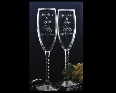 engraved barware personalized custom engraved wedding chagne glasses