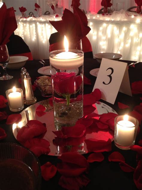 Lukas Wedding Red Rose Centerpiece With Floating Candle Roses Centerpiece