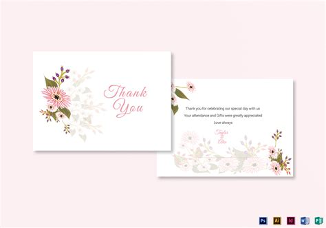 thank you card illustrator template floral wedding thank you card design template in