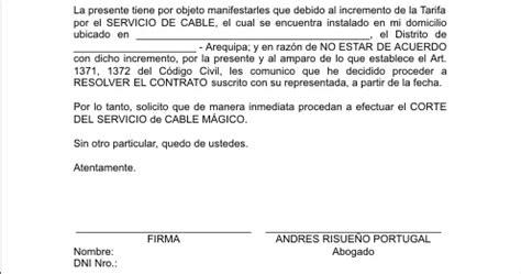 carta de cancelar un servicio instituto pro democracia carta modelo corte de servicio de cable