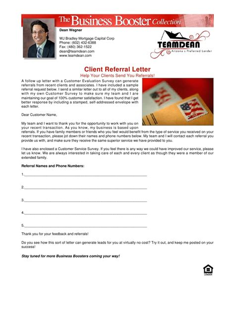 Real Estate Referral Letter by Client Referral Letter