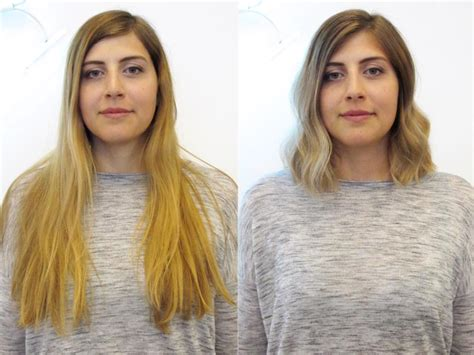before and after long hair to lob see before after hairstyles from the lounge soho