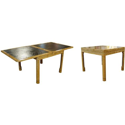expandable game table mid century modern enrique garcel lacquer leather