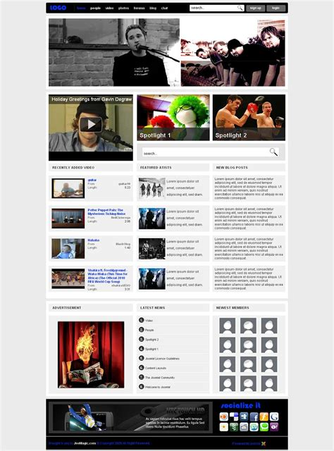 youtube gallery themes joomla clique6 premium joomla gallery template from joomagic