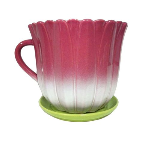 10 Ceramic Planter - trendspot 10 in floral tea cup ceramic planter cr10303