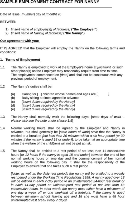 nanny contract template word nanny contract template for excel pdf and word