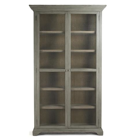 bookshelf armoire lucille french country grey wash chicken wire bookcase
