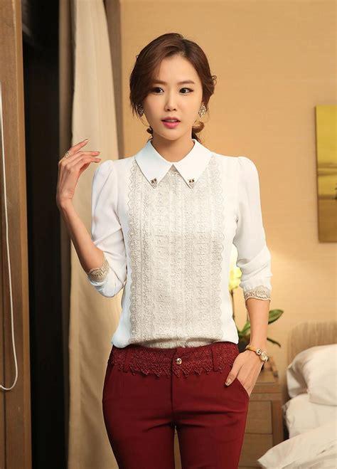 Collar Bow Sleeveless Top Whiteblue 13649 best white shirt womens 2015 custom shirt