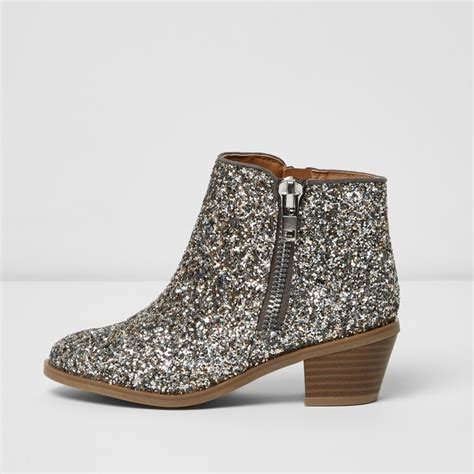glitter boots silver glitter ankle boots boots footwear
