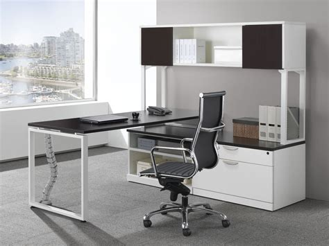 Office Desk For 2 Modern L Shaped Station Desk With 2 Door Open Hutch Bridgecreek Office