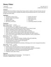 hair stylist resume exle personal services sle