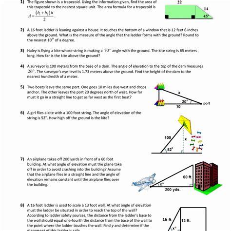Angles Of Elevation And Depression Worksheet With Answers by Angle Of Elevation And Depression Worksheet Resultinfos