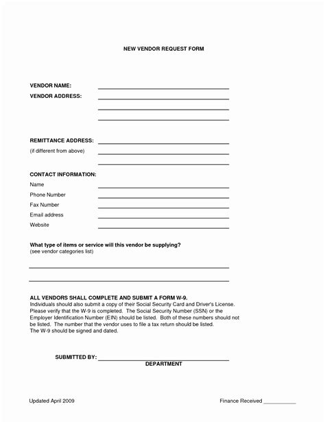 10 New Vendor Form Template Yruat Templatesz234 Vendor Information Form Template Excel