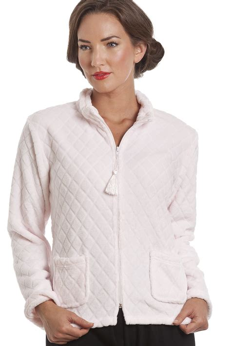 bed jackets light pink supersoft zip up bed jacket
