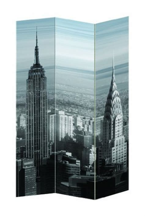 New York Room Divider Screen New York City Theme Three Panel Folding Screen Room Divider Empire State Building Chrysler
