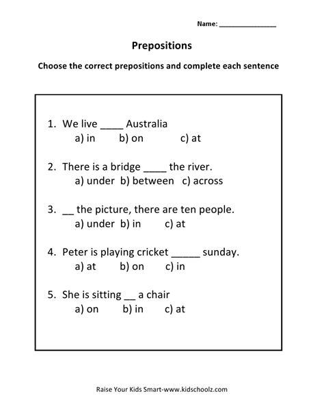 grade worksheets on prepositions best free