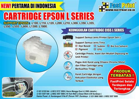 Cartridge 5 Warna Epson L1300 jual cartridge 6 warna epson l800 l850 l1800 fast print indonesia