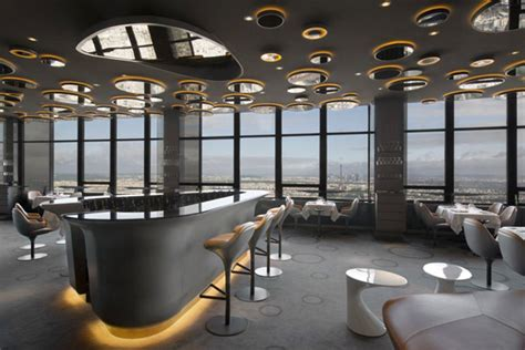 futuristic interior design cafe ciel de paris restaurant furnish burnish