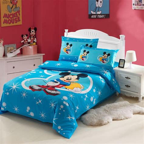 mickey mouse twin bed 3pcs blue mickey mouse cartoon kids cotton print bedding