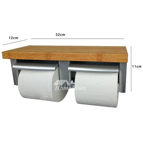 toilet paper shelf wood double toilet paper holder with shelf wood abs