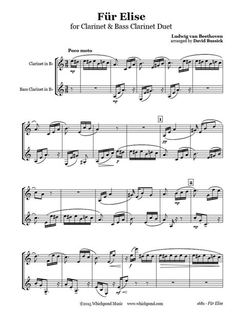 beethoven biography fur elise beethoven f 252 r elise clarinet duet whichpond music