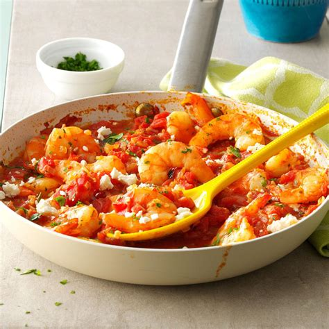 seafood ideas for dinner feta shrimp skillet recipe taste of home
