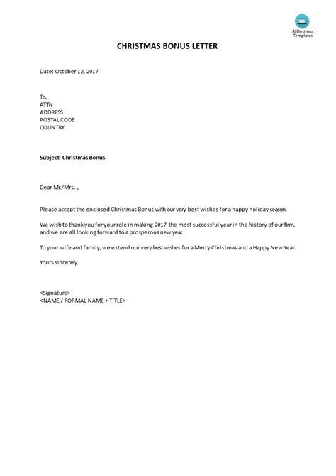 Bonus Letter For Christmas Templates At Allbusinesstemplates Com Bonus Letter Template
