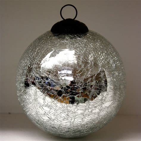 silver sparkle crackle glass baubles ten and a half