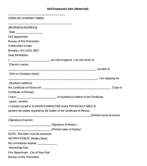 notarized document template free notarized letter template sle format exle