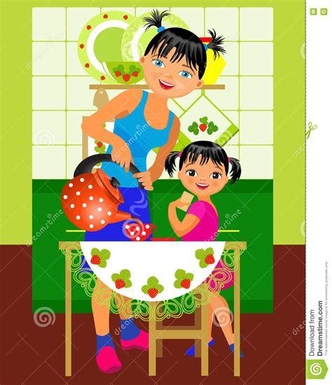 maman et dans la cuisine illustration de vecteur