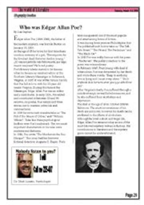 edgar allan poe biography video questions answers english teaching worksheets edgar allan poe