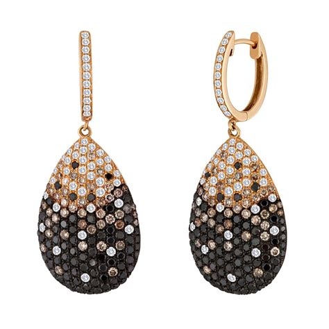 black chagne and white gold drop earrings at
