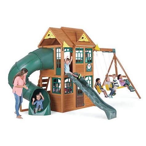buy wooden swing set big backyard premium collection charleston lodge wood