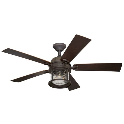 Outdoor Ceiling Fan With Light Shop Allen Roth Stonecroft 52 In Rust Indoor Outdoor Downrod Or Mount Ceiling Fan With