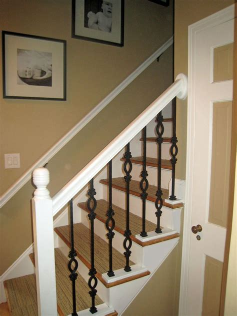 white banister white railing with iron spindles staire pinterest