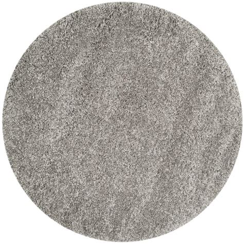 Safavieh California Shag Silver 4 Ft X 4 Ft Round Area 4 Foot Area Rugs