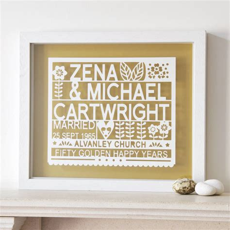 Wedding Year Gifts by Personalised 50th Golden Wedding Anniversary Gift By Ant
