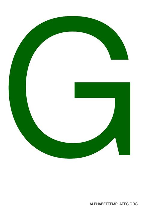color g large alphabet templates in color green alphabet
