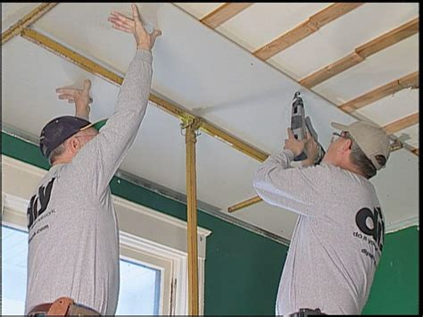 Installing A Ceiling by How To Replace Ceiling Tiles With Drywall How Tos Diy