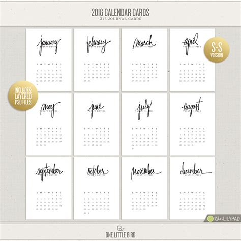 Calendar Cards 2016 Calendar Cards Printable Journaling Cards One