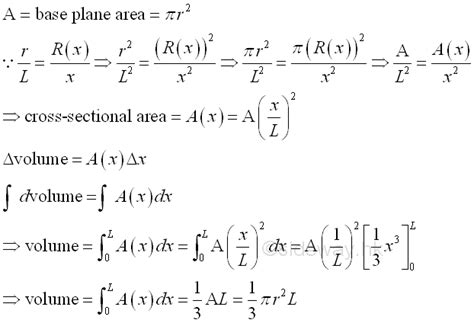 cross sectional area of a cylinder equation volume of common solids output to from sideway