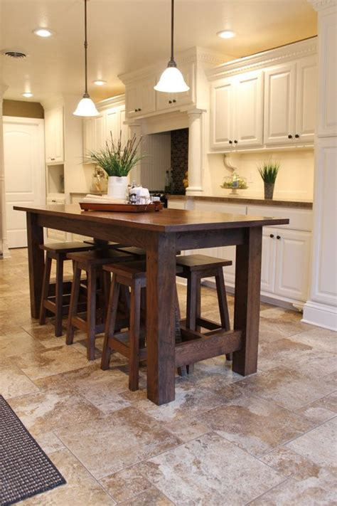 wood kitchen island table rustic farmhouse bar island table with 6 barstools