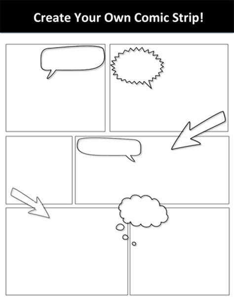 blank create your own comic strip template by